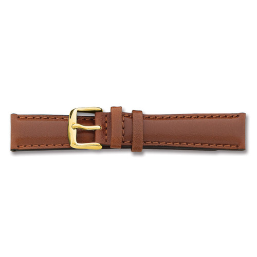 22mm Long Havana Leather Chrono Buckle Watch Band 8.5 Inch Gold-tone BAY142L-22