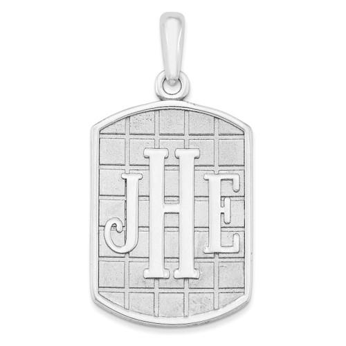 Antiqued or Sandblast Monogram Pendant 10k White Gold Casted High Polished 10XNA526W