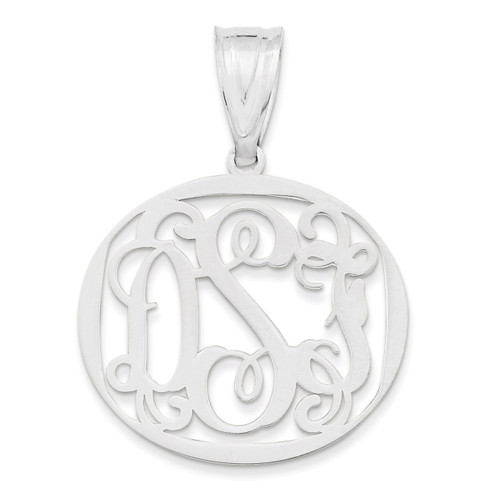 Monogram Circle Pendant 10k White Gold Laser High Polish 10XNA527W
