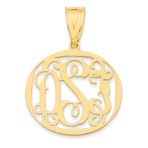 Monogram Circle Pendant 10k Yellow Gold Laser High Polish 10XNA527Y
