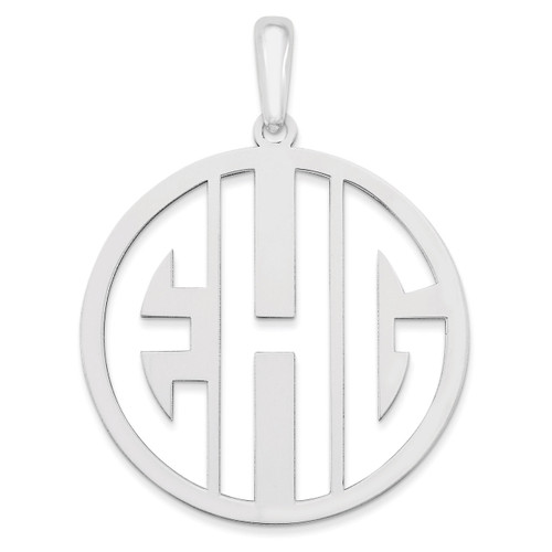 Monogram Pendant 10k White Gold Laser High Polished 10XNA529W