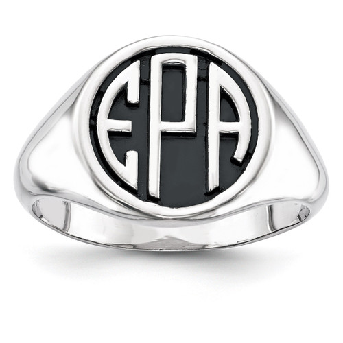 Antiqued or Sandblast Monogram Ring 10k White Gold Casted High Polished 10XNR69W