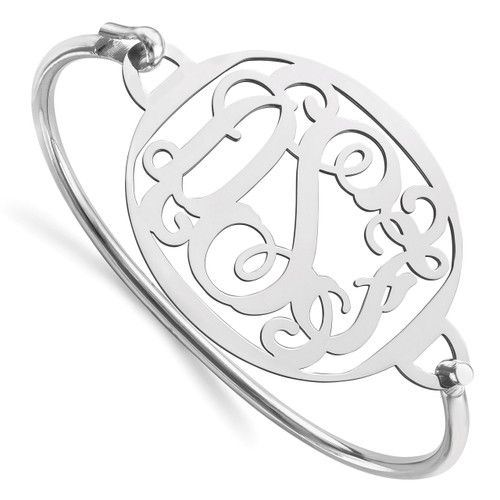 Monogram Bangle Bracelet Sterling Silver High Polished XNA508SS