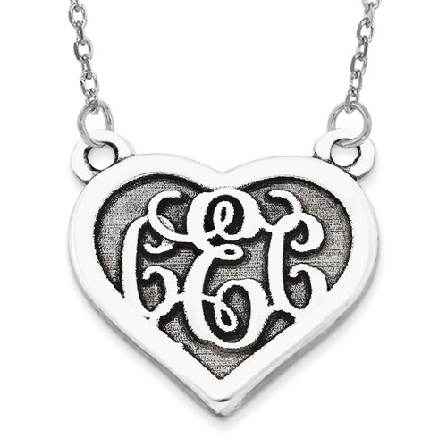 Heart Monogram Pendant 14k White Gold Casted High Polished with Sandblast background XNA510W