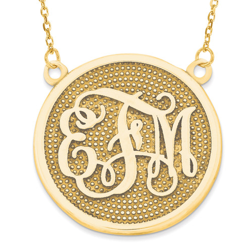 Beaded Background Monogram Plate 14k Yellow Gold Casted High Polished XNA519Y