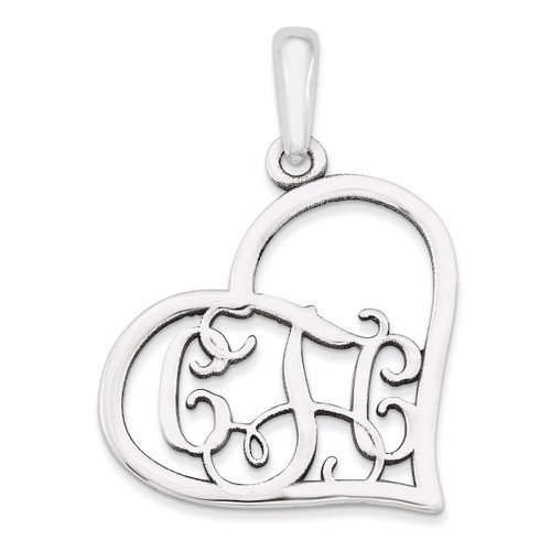 Monogram Heart Pendant 14k White Gold Casted Polished & Satin XNA520W