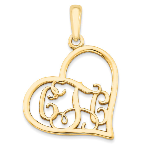 Monogram Heart Pendant 14k Yellow Gold Casted Polished & Satin XNA520Y