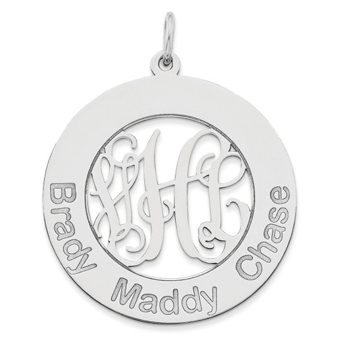 Monogram & Names Pendant 14k White Gold Laser High Polished XNA530W