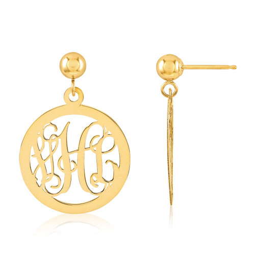 Monogram Earring 14k Yellow Gold XNE16Y