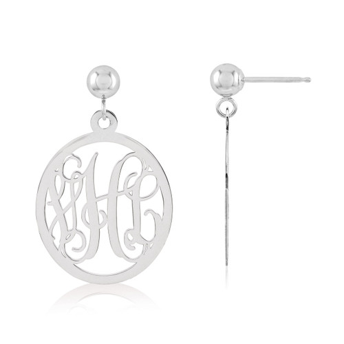 Monogram Earring 14k White Gold XNE17W