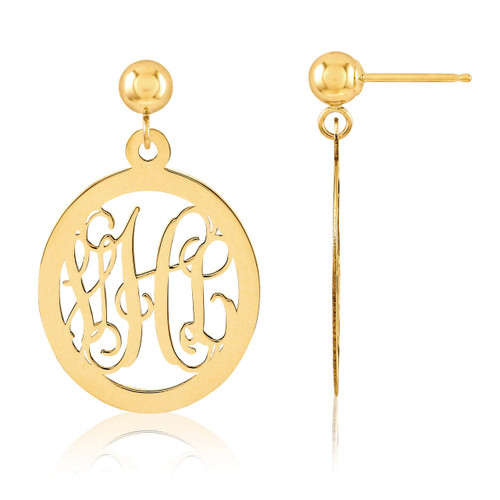 Monogram Earring 14k Yellow Gold XNE17Y