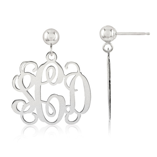 Monogram Earring 14k White Gold XNE19W