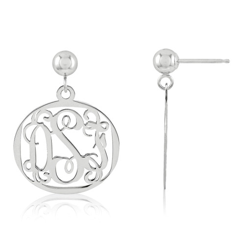 Monogram Earring 14k White Gold XNE20W