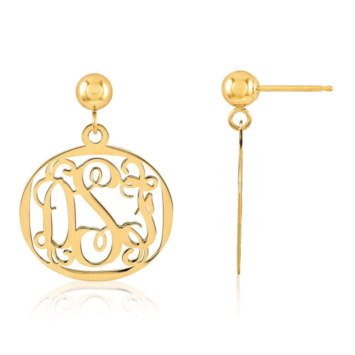 Monogram Earring 14k Yellow Gold XNE20Y
