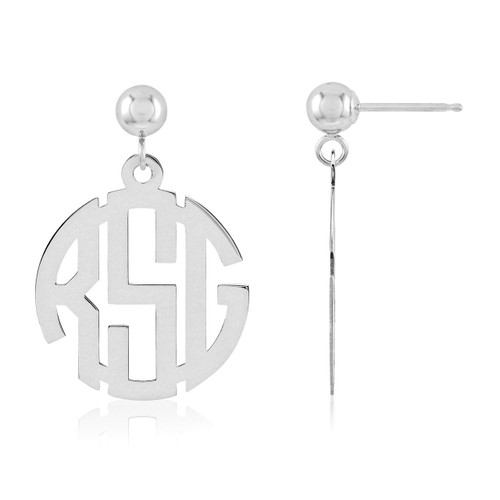 Monogram Earring 14k White Gold XNE21W