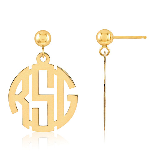 Monogram Earring 14k Yellow Gold XNE21Y