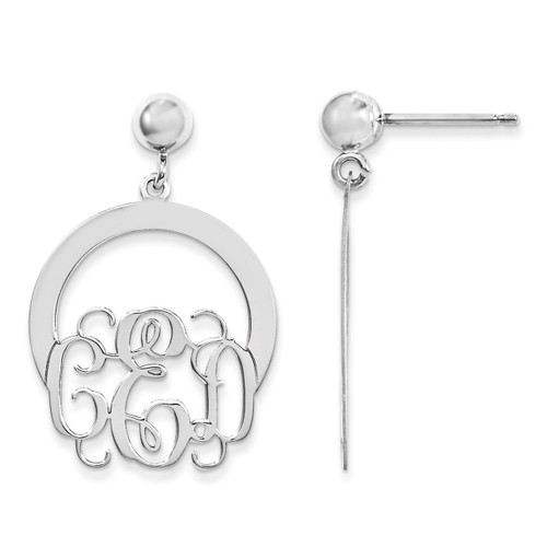 Monogram Dangle Earrings 14k White Gold Laser High Polished XNE22W