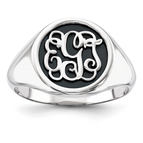 Antiqued or Sandblast Monogram Ring 14k White Gold Casted High Polished XNR67W