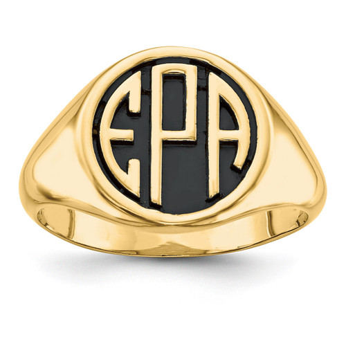Antiqued or Sandblast Monogram Ring 14k Yellow Gold Casted High Polished XNR69Y