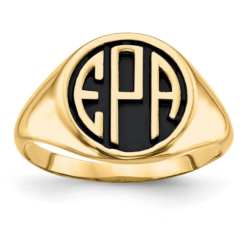 Antiqued or Sandblast Monogram Ring 14k Yellow Gold Casted High Polished XNR70Y