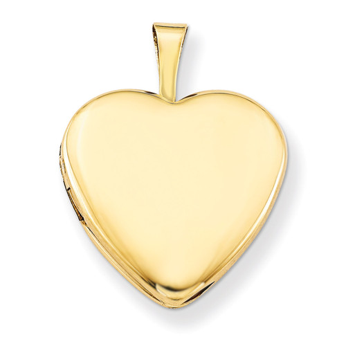 2-Picture Frame 15mm Heart Locket 14k Gold Filled Satin and Polished QLS102