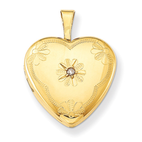 Diamond 2-Picture Frame 15mm Heart Locket 14k Gold Filled QLS104