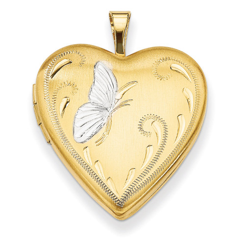 Butterfly 19mm Heart Locket Sterling Silver Gold-plated & Rhodium QLS110
