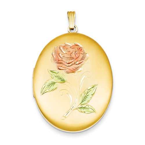 34mm Enameled Flower Oval Locket Sterling Silver 14k Gold Filled QLS120