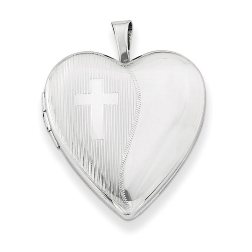 Cross Design Heart Locket Sterling Silver 20mm QLS228-18