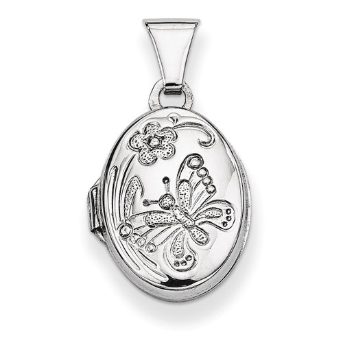 Butterfly Oval Locket Sterling Silver QLS23