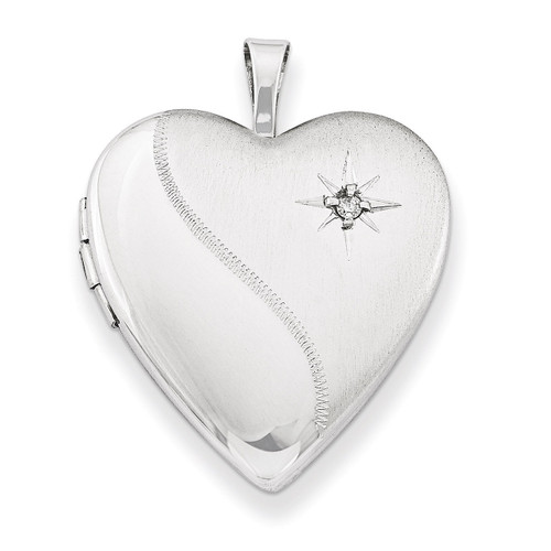 Diamond Heart Locket Sterling Silver 20mm QLS239-18