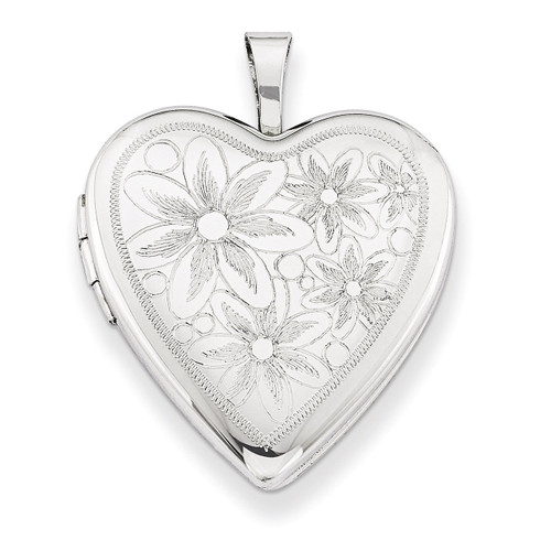 Daisies Heart Locket Sterling Silver 20mm QLS242-18