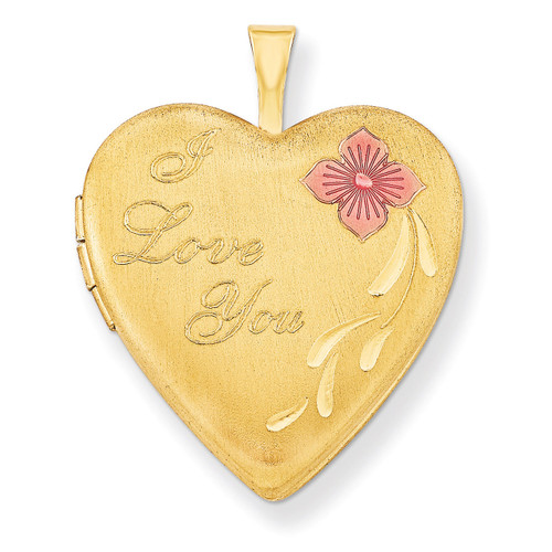 1/20 Gold Filled 20mm Enameled I Love You Heart Locket 1/20 Gold Filled 20mm QLS276-18