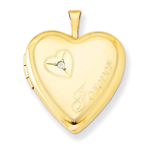 Diamond in Heart Forever Heart Locket Sterling Silver Gold Filled 20mm QLS285-18