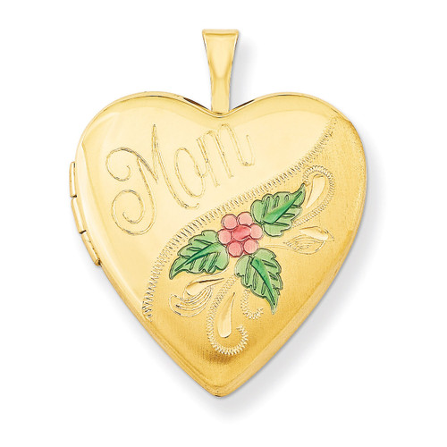 1/20 Gold Filled 20mm Enameled Mom Heart Locket 1/20 Gold Filled 20mm QLS286-18