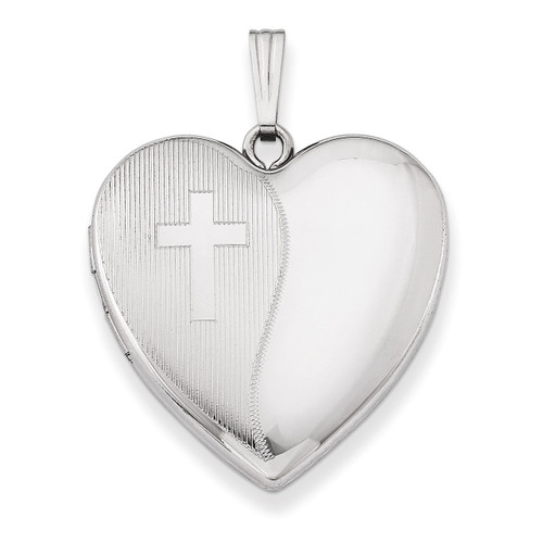 Cross Design Heart Locket Sterling Silver 24mm QLS304