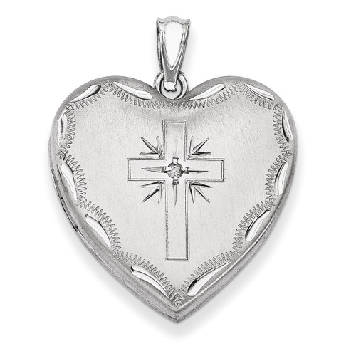 Cross Design Family Heart Locket Sterling Silver 24mm with Diamond QLS306