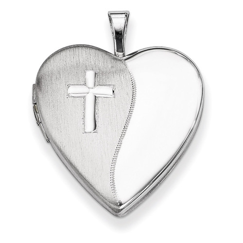 Cross Satin/Polished Heart Locket Sterling Silver 20mm QLS321