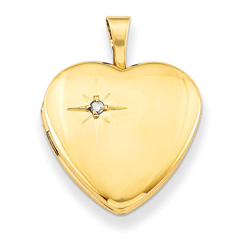 Diamond 16mm Heart Locket Gold Plated Sterling Silver QLS364