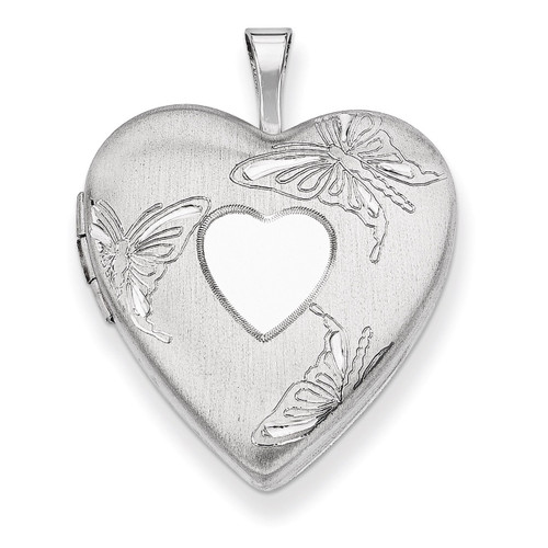 Butterflies Heart Locket Sterling Silver 20mm Diamond-cut QLS394