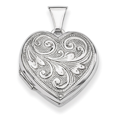 Scrolled Front & Back Heart Locket Sterling Silver QLS48