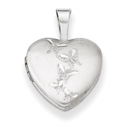 Butterflies 12mm Heart Locket Sterling Silver QLS480