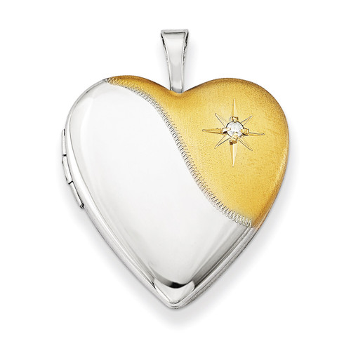 Diamond Gold-plated Polished & Satin 20mm Heart Locket Sterling Silver QLS493