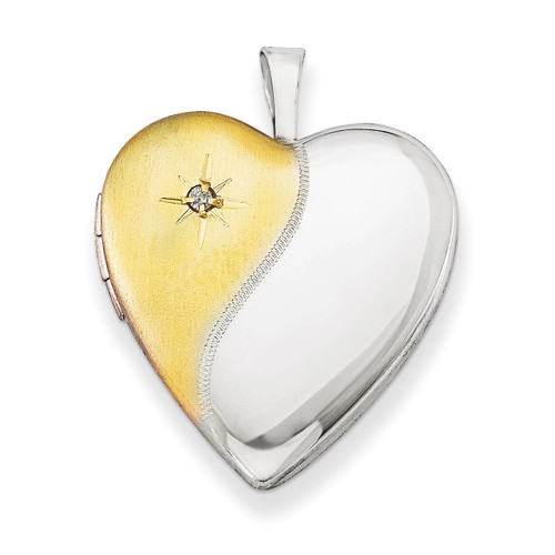 Diamond Gold-plated Polished & Satin 20mm Heart Locket Sterling Silver QLS494