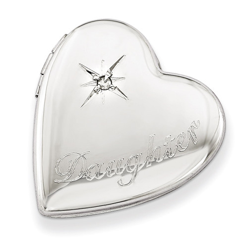 Diamond Polished Daughter Heart Slide Locket Sterling Silver 20mm QLS537