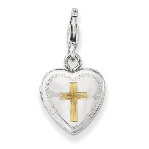 Cross Lobster Clasp 12mm Heart Locket Sterling Silver Gold-plated QLS548