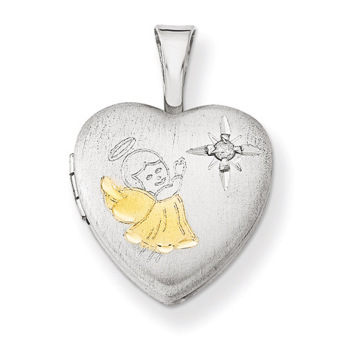 Diamond Angel 12mm Heart Locket Sterling Silver Gold-plated QLS550