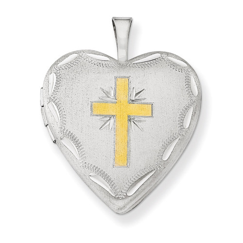 Cross 20mm Heart Locket Sterling Silver Gold-plated QLS556