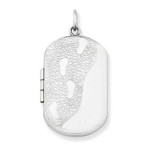 30mm Footprints Rectangular Locket Sterling Silver QLS568