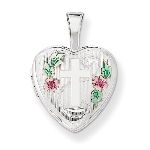 Cross with Enamel Flowers 12mm Heart Locket Sterling Silver QLS570
